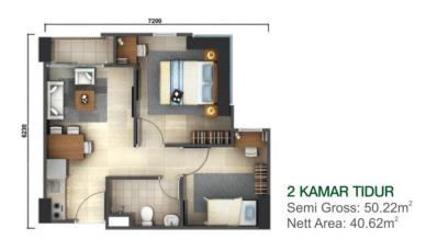 Denah Tower Kalyana & Kirana Tipe 2 BR