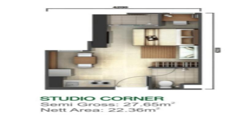 Denah Tower Kalyana & Kirana Tipe Studio Corner